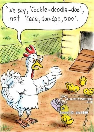 'We say cock-a-doodle-doo', not 'caca, doo-doo, poo'.'
